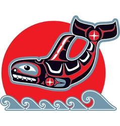 orca - killer whale - in native art style vector image