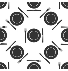 Platefork and knife icon seamless pattern on vector