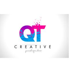 qt q t letter logo with shattered broken blue vector image
