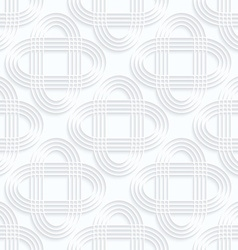 Quilling white paper striped intersecting ovals vector
