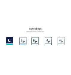 Quran book icon in different style two colored vector