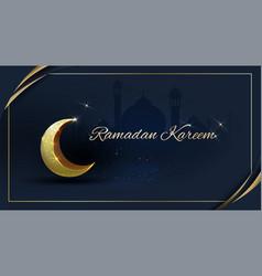 Ramadan kareem with golden ornate crescent and vector