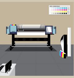 Retro color large format printer in room vector