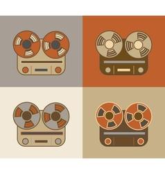 Retro reel to reel tape recorder icon vector