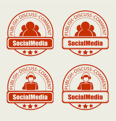 round stamp social networking of the internet set vector image