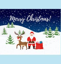 santa claus reindeers christmas card vector image