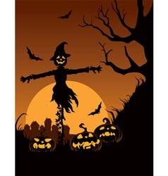 Scarecrow in halloween night vector