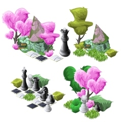 Scenery with topiary trees chess and fairy house vector image