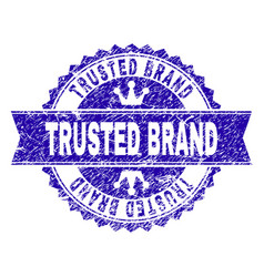 Scratched textured trusted brand stamp seal with vector