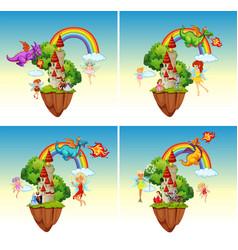 set fairy tale castle vector image