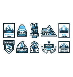 Set logos stickers posters on theme of vector