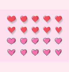 set red heart and pink heart with different vector image