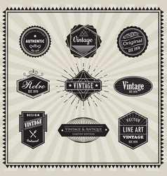 set retro vintage badge linear thin line art vector image