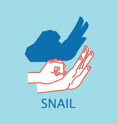 shadow theater hands gesture like snail vector image