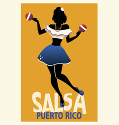 Silhouette of girl dancing salsa with maracas vector