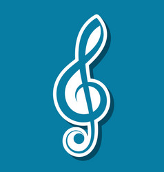 simple treble clef label with shadow vector image