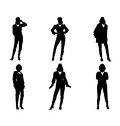 Six silhouettes of modern women vector