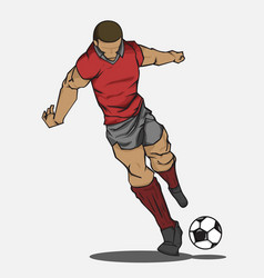 soccer player kicking the ball vector image