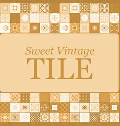 Sweet vintage ceramic brown tiles vector