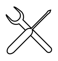 Thin line wrench icon vector