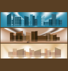 three banners with silhouettes of cities vector image