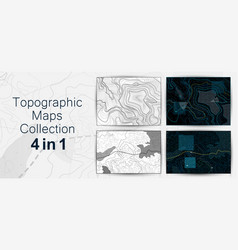 topographic map contour background collection vector image