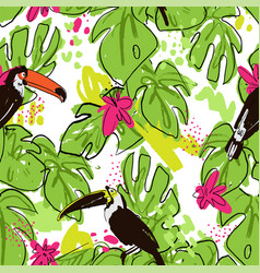 tropical hand draw seamless pattern with monstera vector image