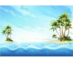 Tropical island in ocean palm on island vector