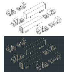 trucks and trailers isometric vector image