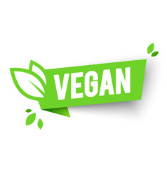 vegan bio icon organic label tag green leaf banner vector image