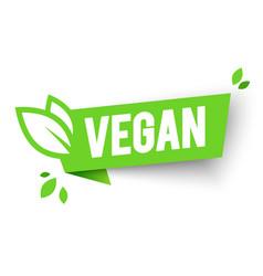 Vegan bio icon organic label tag green leaf banner vector