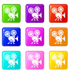 video camera icons set 9 color collection vector image