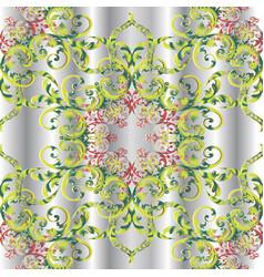 vintage floral 3d damask seamless pattern vector image