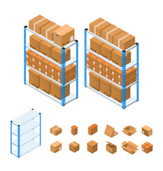 Warehouse shelves set isometric view vector
