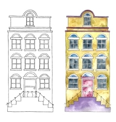 Watercolor cartoon buildings vector image