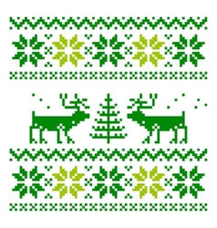 White knitted scandinavian scarf with deer vector image