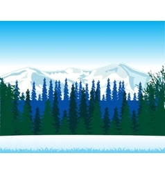 Winter landscape with wood and mountain vector