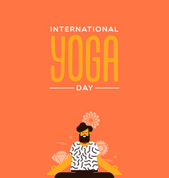 yoga day card man in lotus pose exercise vector image
