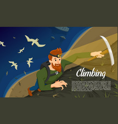 young bearded hipster climber with ice axe vector image