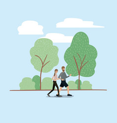 young couple running on the park vector image