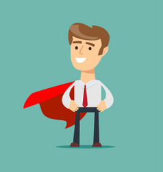 Young man in a red cape superhero vector