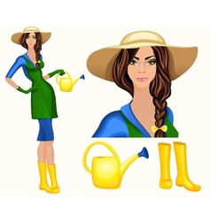 Young woman garden worker vector image