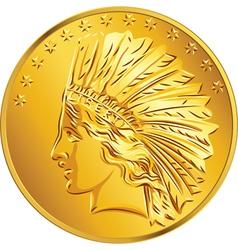 American Money Gold Coin Dollar vector image