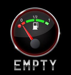black fuel gauge with metal frame empty tank vector image