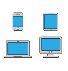 Mobile phone tablet laptop and desktop computer vector image