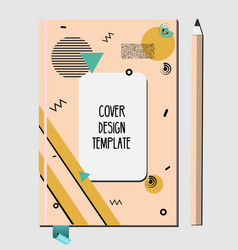 notepad book cover design template with abstract vector image vector image