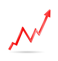 red arrow graph directed upwards vector image