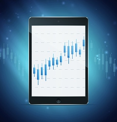 tablet with forex chart on desktop vector image
