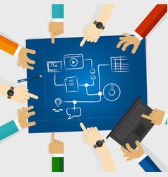 team create plan for social media and digital vector image