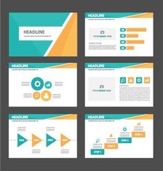 Orange and green presentation templates Set vector image vector image